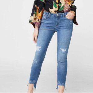 Mango Isa Skinny Cropped Hem Jeans Size 4